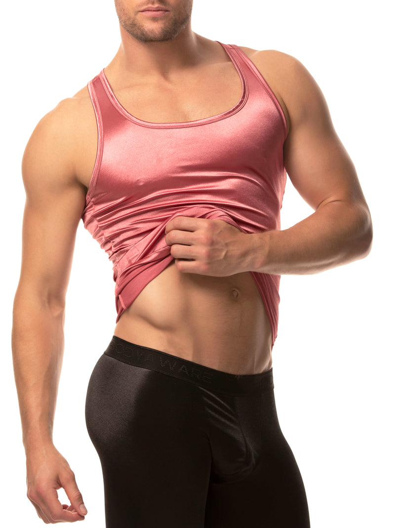 men's pink satin tank top