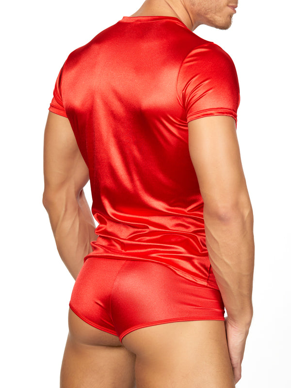 Men's red satin t-shirt