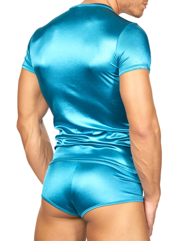 Men's blue satin t-shirt