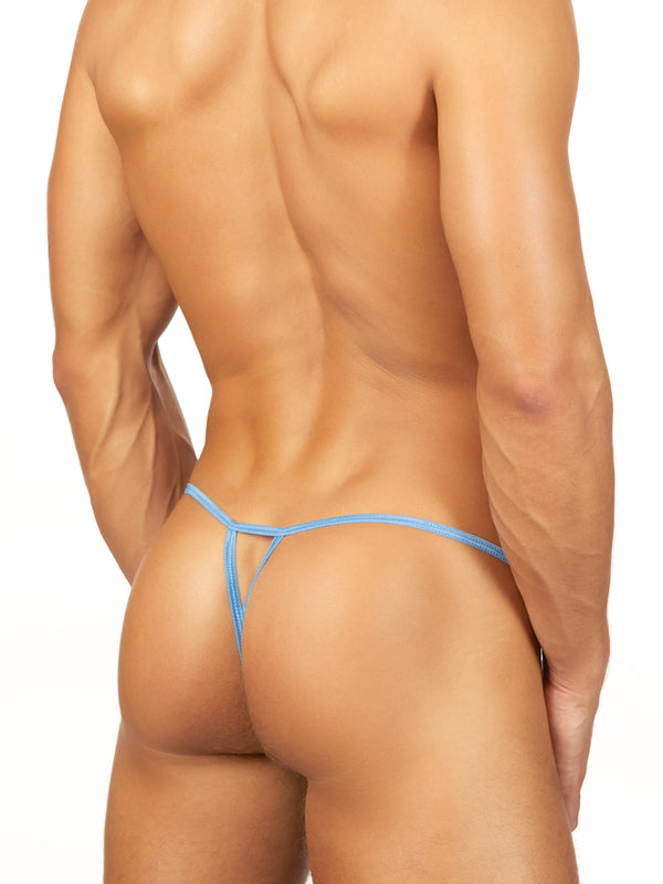 Men's blue see-thru g-string
