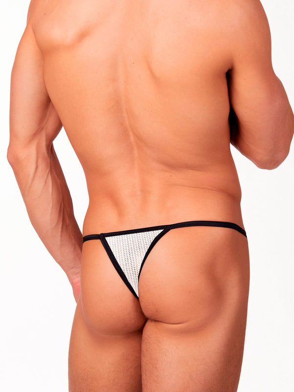 Men's white mesh thong underwear