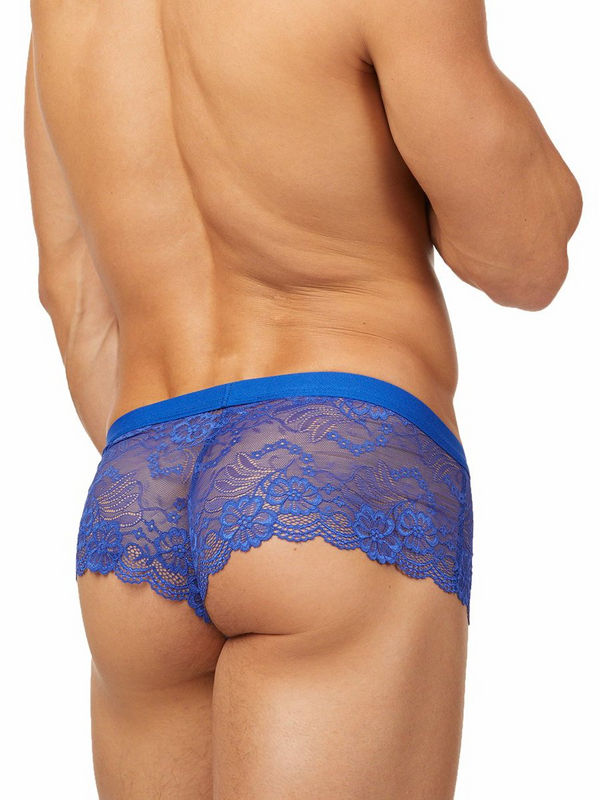 men's blue lace see through boxers