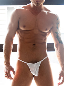 men's white satin tanga