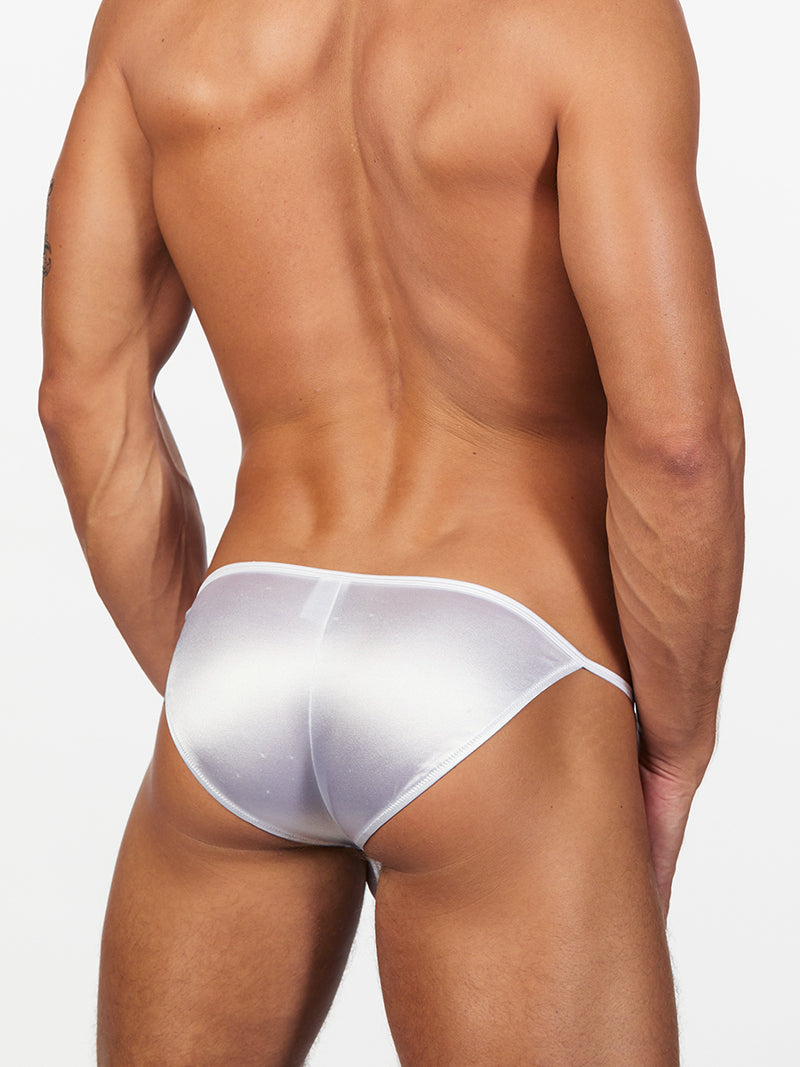 men's white satin tanga underwear