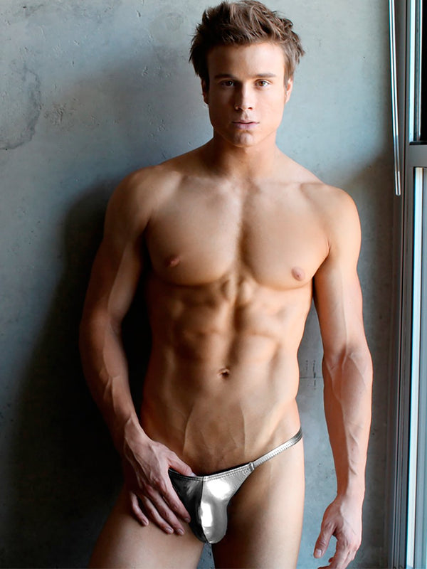 men's silver g-string tanga