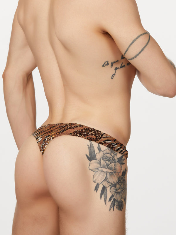 men's tiger print thong underwear
