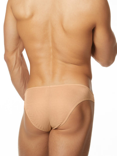Men's nude shiny satin bikini cut brief panties