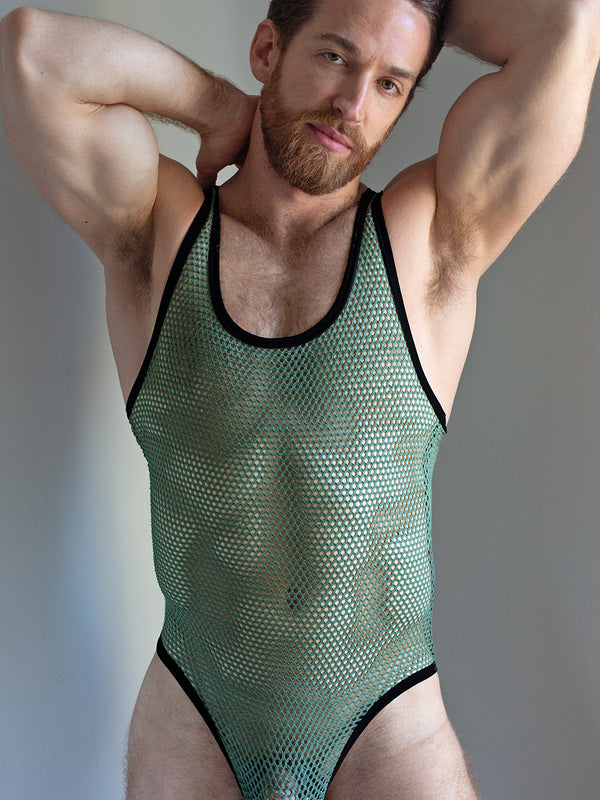 men's green fishnet mesh bodysuit