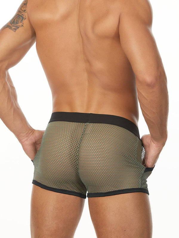 Men's green fishnet shorts