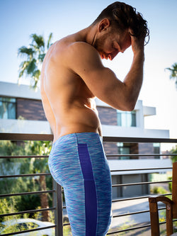 Men's purple athletic leggings