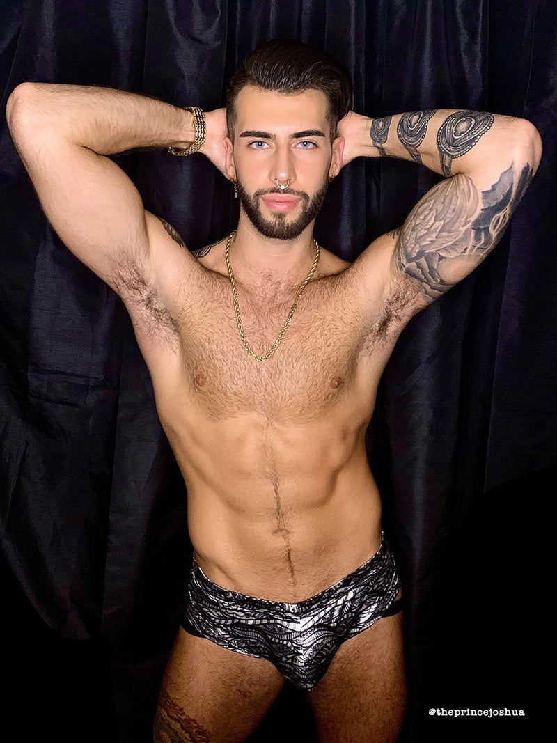 Men's black and white satin print briefs