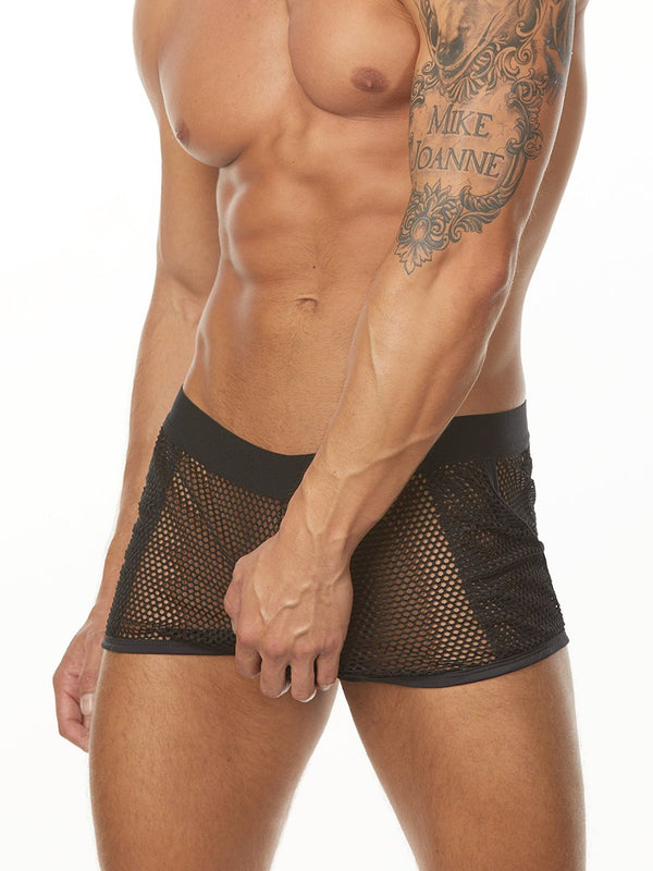 Men's black fishnet mesh shorts