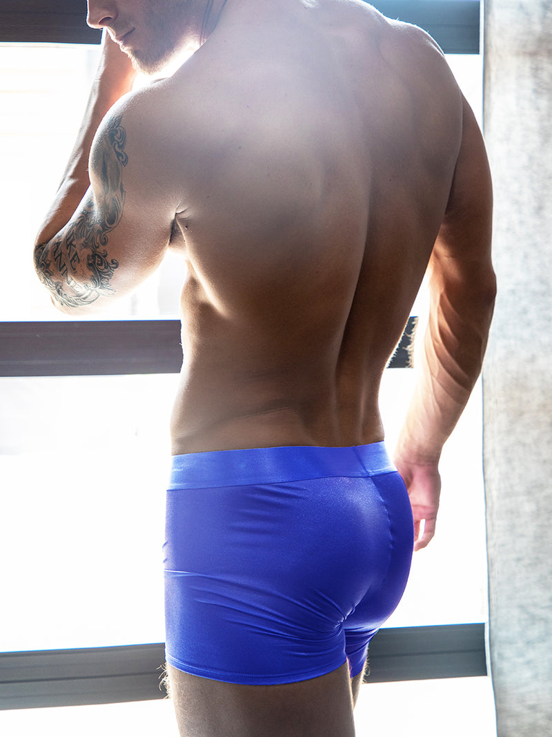 men's blue satin boxers