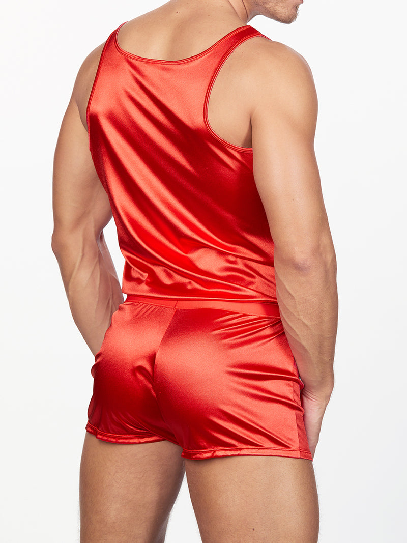men's red satin romper