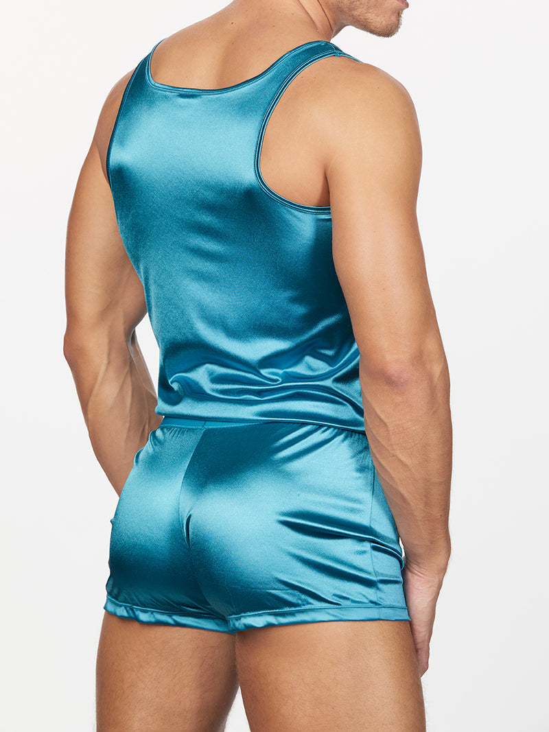 men's blue satin romper