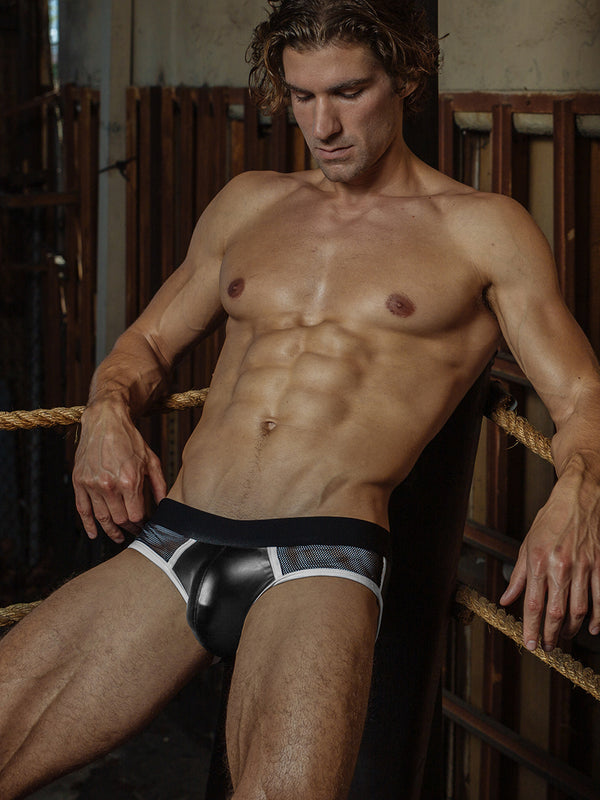 men's black pleather and mesh briefs
