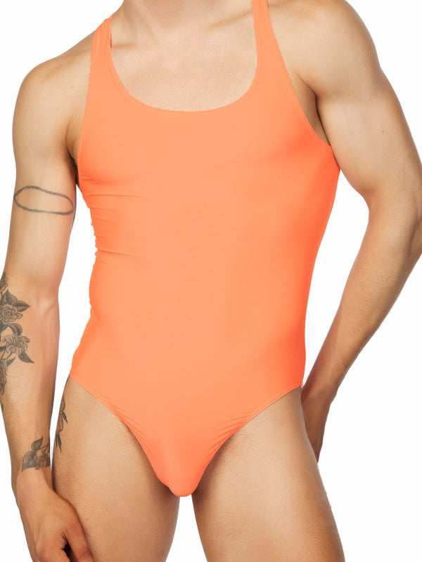 men's neon orange bodysuit leotard
