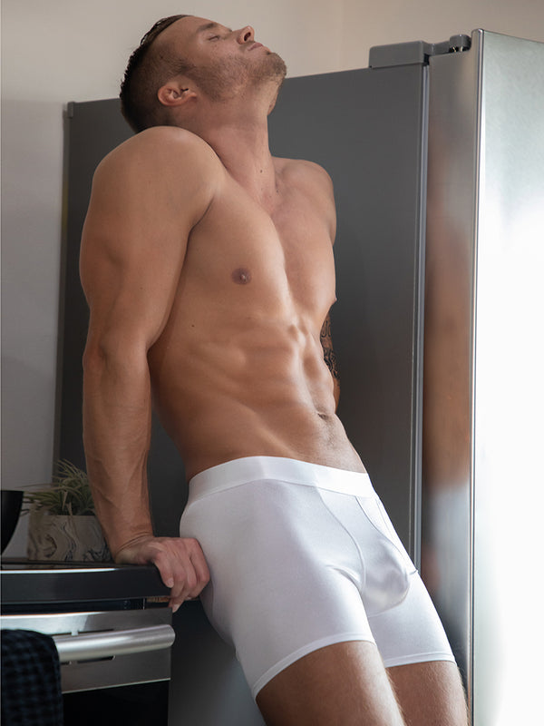 men's white satin boxer briefs