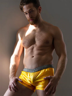 men's yellow nylon shorts