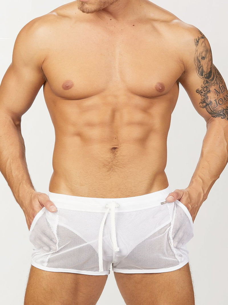 Men's white mesh shorts