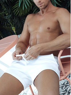 men's white plush gym shorts