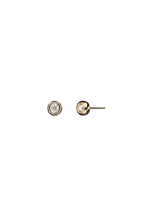 BIG STUD DIAMOND EARRING - 14K YELLOW GOLD