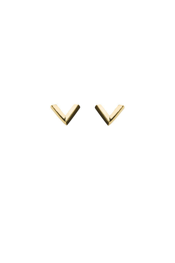 CHECK EARRING - HIGH POLISHED GOLD