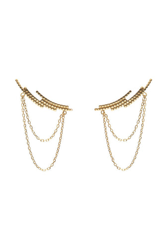 CRESCENT CHAIN EARRING - GOLD