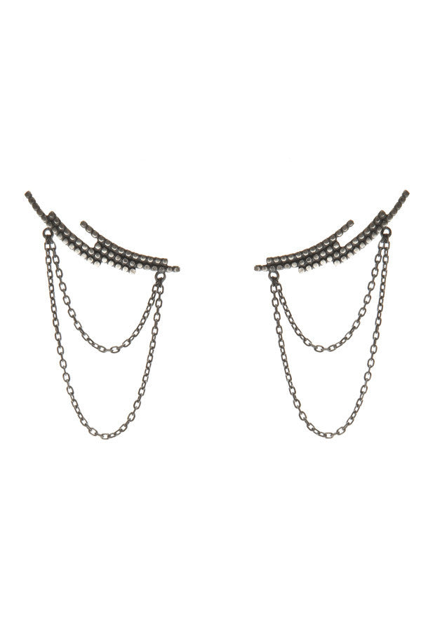 CRESCENT CHAIN EARRING - BLACK