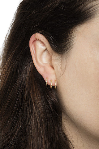 INDO TRIPLE HOOP EARRING - HIGH POLISHED GOLD