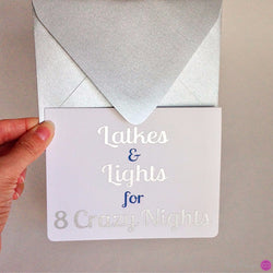 Latkes and Lights for 8 Crazy Nights • Card