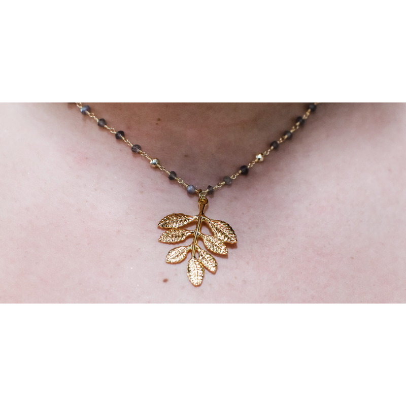 Gold & Beaded With Leaf Necklace