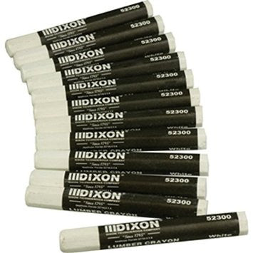 Dixon - 12 Pieces White Lumber Crayons - Model # 52300