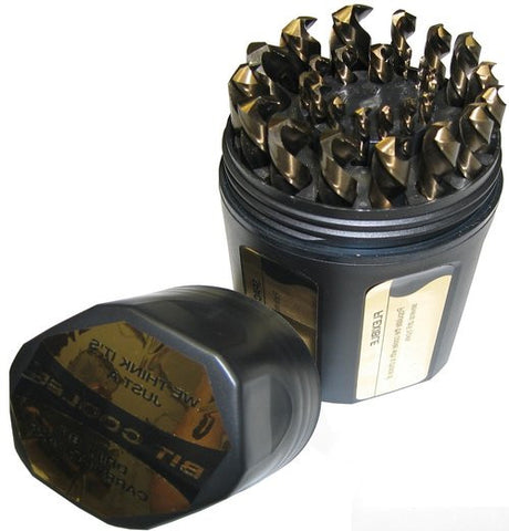 Drill America KFD29JX3/8-PC Black and Gold Jobbers with 3/8 Shank Plastic Case
