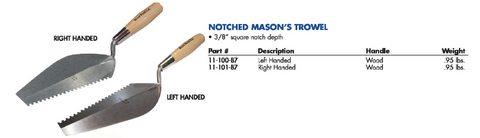 NOTCHED MASON'S TROWEL