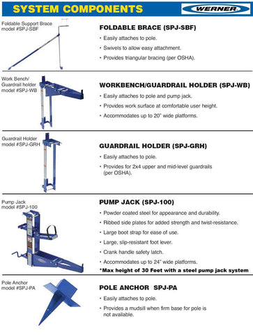 WERNER SCAFFOLD BRACE COMPONENTS