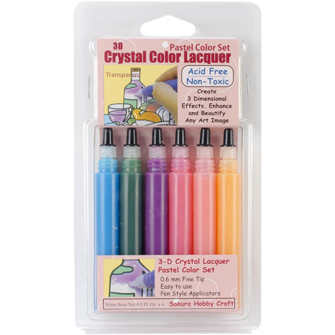 3D Crystal Lacquer Color Pens Pastel .5oz 6pk