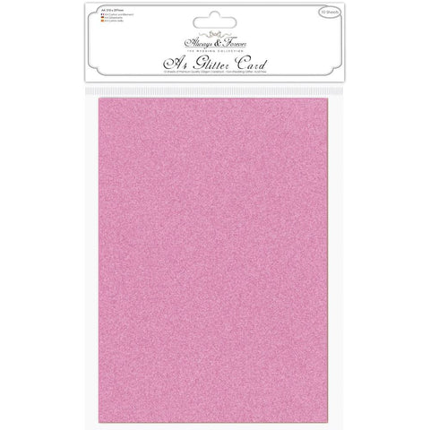 Craft Consortium Always and Forever A4 Glitter Cardstock Fuchsia Pink 10pk