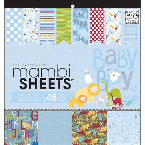Mambi Sheets Specialty Cardstock Oh Baby Boy 12inx12in