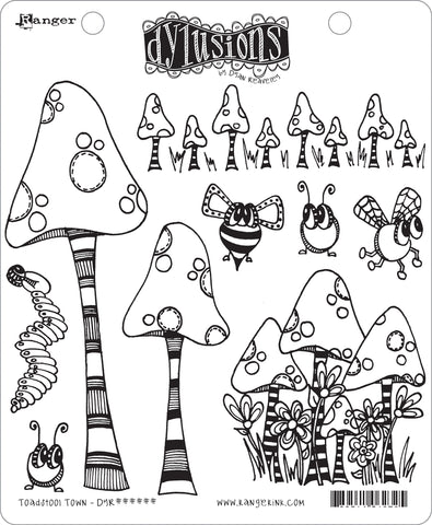 Dyan Reaveley's Dylusions Cling Stamp Collections Toadstool Town 8.5inX7in