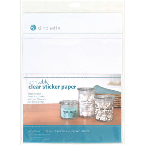 Silhouette Printable Sticker Paper Clear 8.5inX11in 8pk