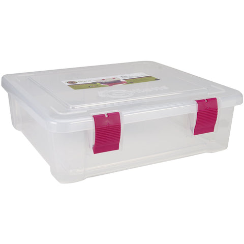 Creative Options File Tub Clear with Magenta 17inX15inX5in