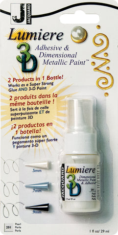 Jacquard Lumiere 3D Metallic Paint and Adhesive Blister Pk Pearl 1oz