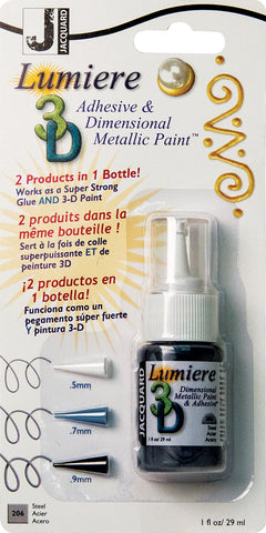 Jacquard Lumiere 3D Metallic Paint and Adhesive Blister Pk Steel 1oz