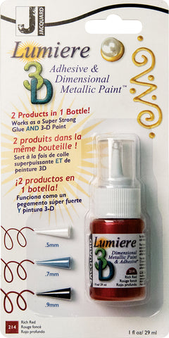Jacquard Lumiere 3D Metallic Paint and Adhesive Blister Pk Rich Red 1oz