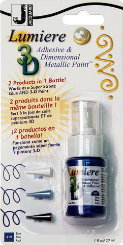 Jacquard Lumiere 3D Metallic Paint and Adhesive Blister Pk Blue 1oz