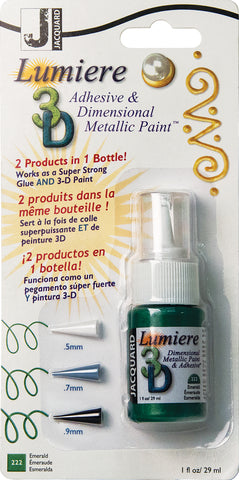 Jacquard Lumiere 3D Metallic Paint and Adhesive Blister Pk Emerald 1oz