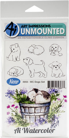 Art Impressions Watercolor Cling Rubber Stamps Dogs