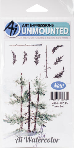 Art Impressions Watercolor Cling Rubber Stamps Fir Trees