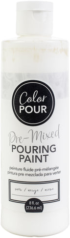 American Crafts Color Pour Pre-Mixed Paint Snow 8oz